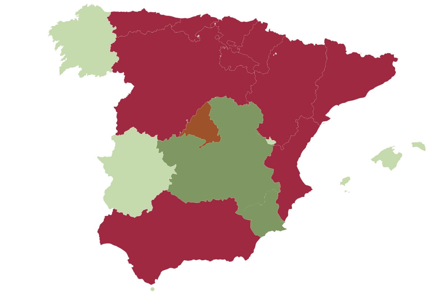 Mapa actualizado de confinamientos para montear
