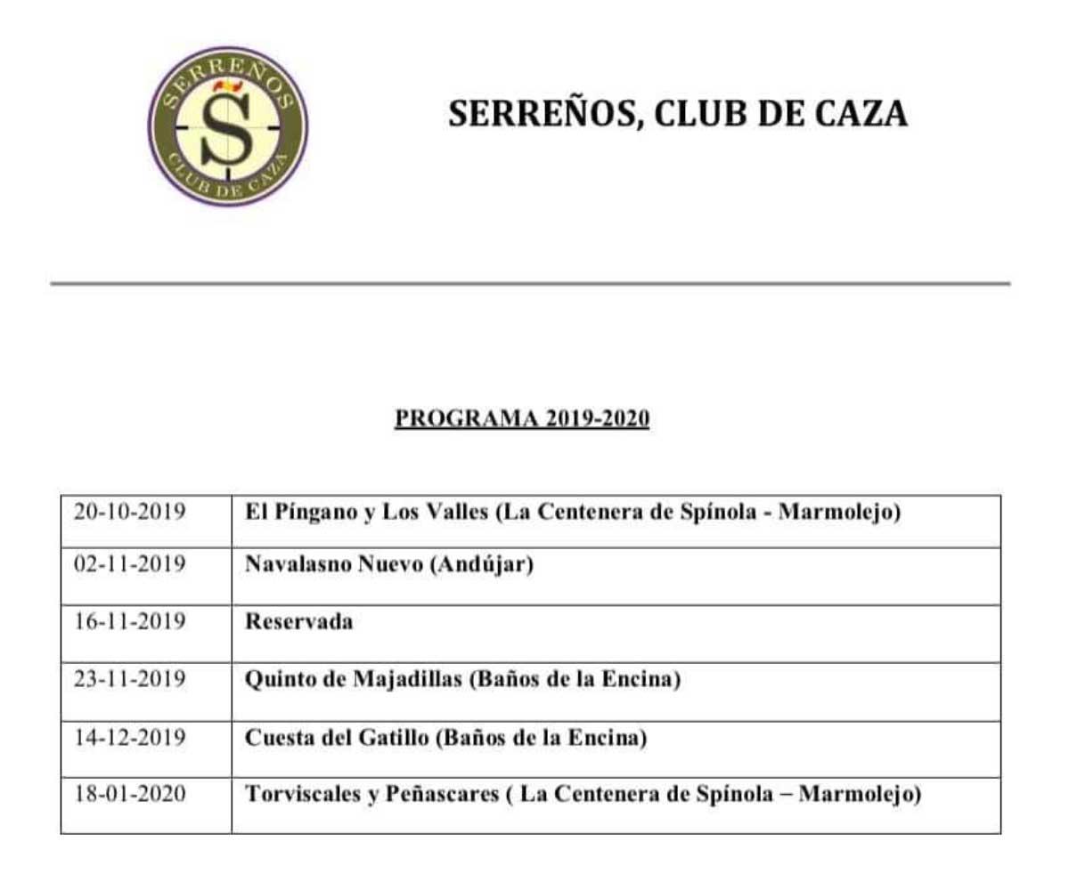 Programa Monterías Serreños Club de Caza