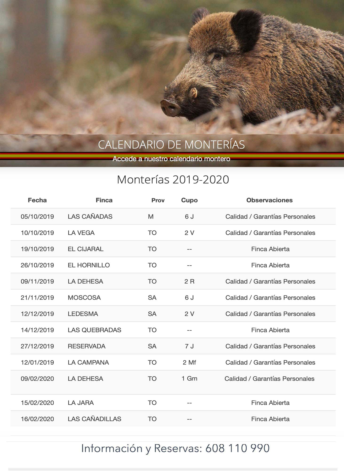 Programa Monterias Bosques y Caza