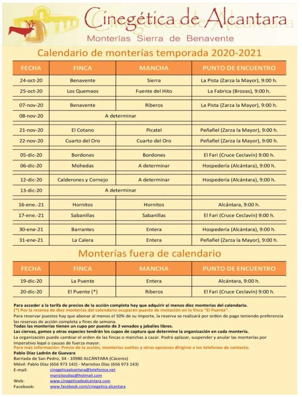 Programa Monterias Cinegética Alcántara