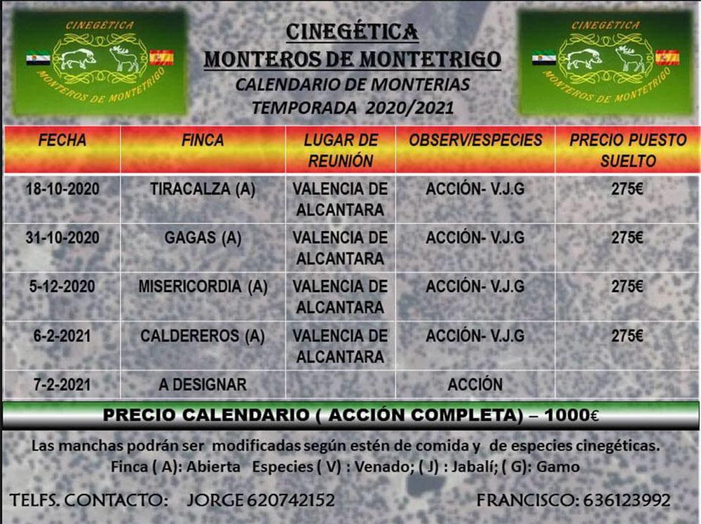 Programa Monterías Cinegética Monteros de Montetrigo