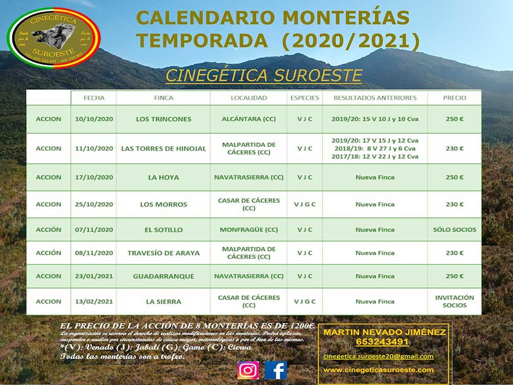 Programa Monterías Cinegética Suroeste