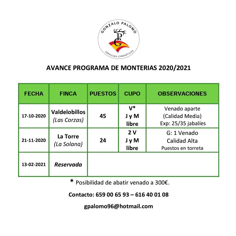 Programa Monterías Gonzalo Palomo S C