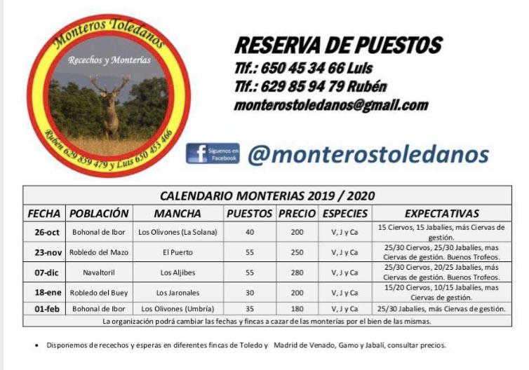 Programa Monterias Monteros Toledanos