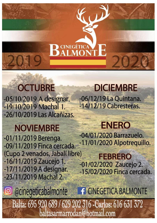 Programa Monterías Cinegética Balmonte