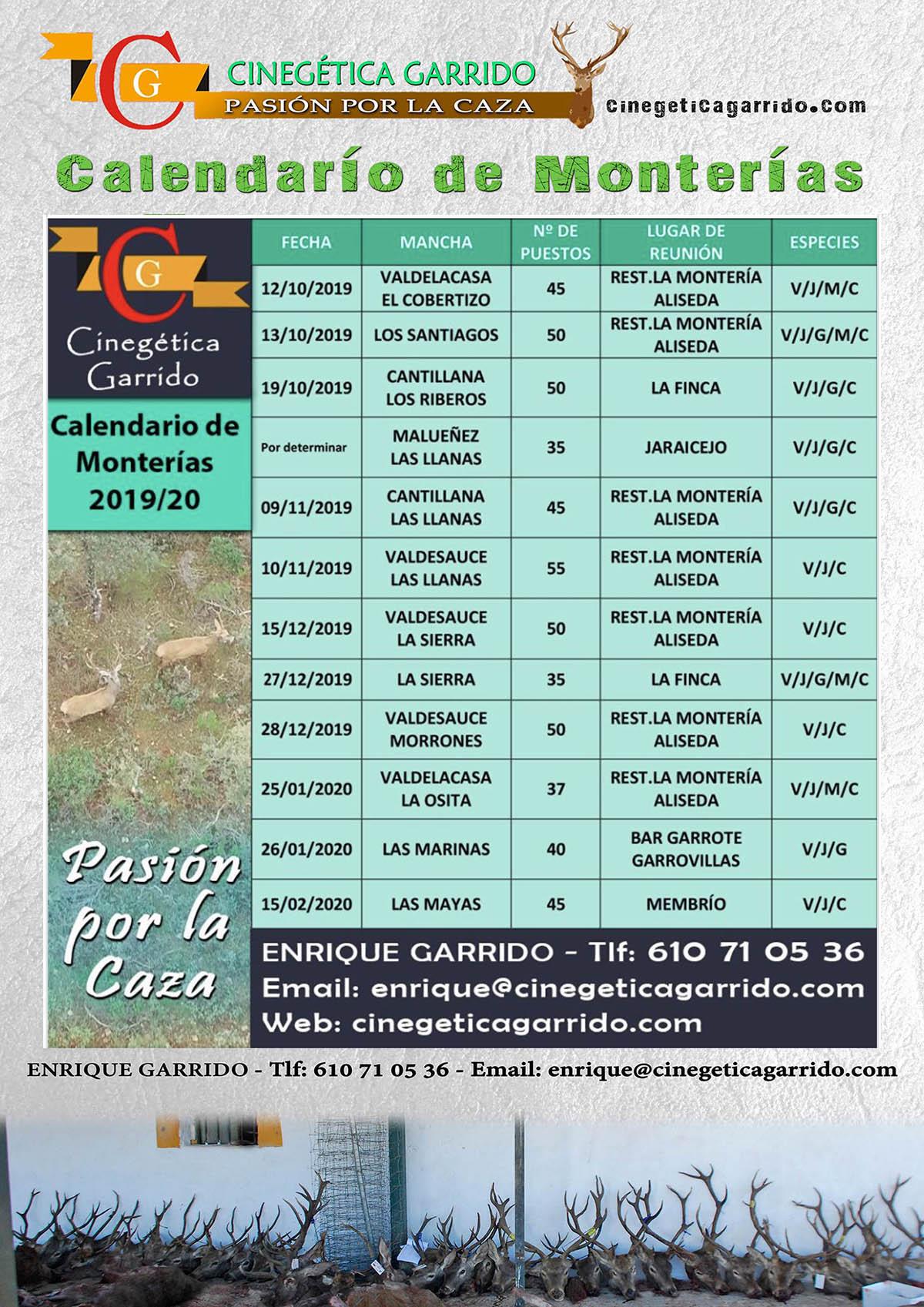 Programa Monterias Cinegética Garrido