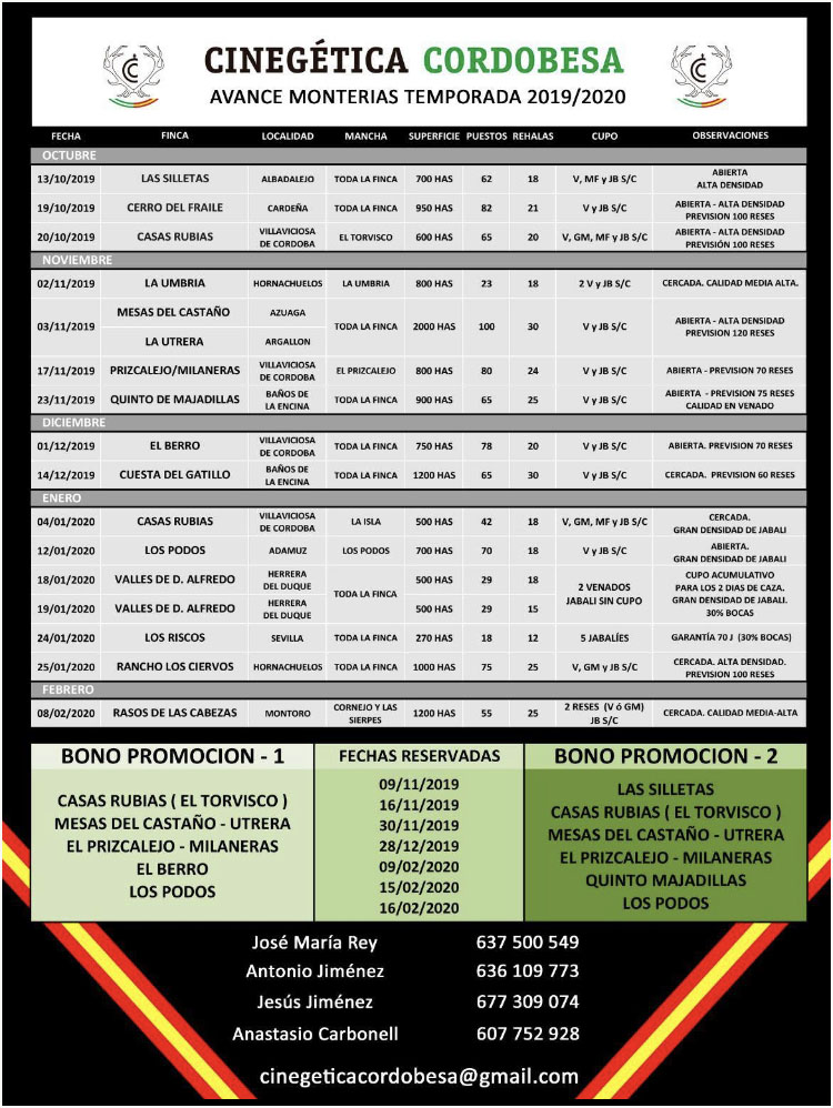 Programa Monterias Cinegetica Cordobesa