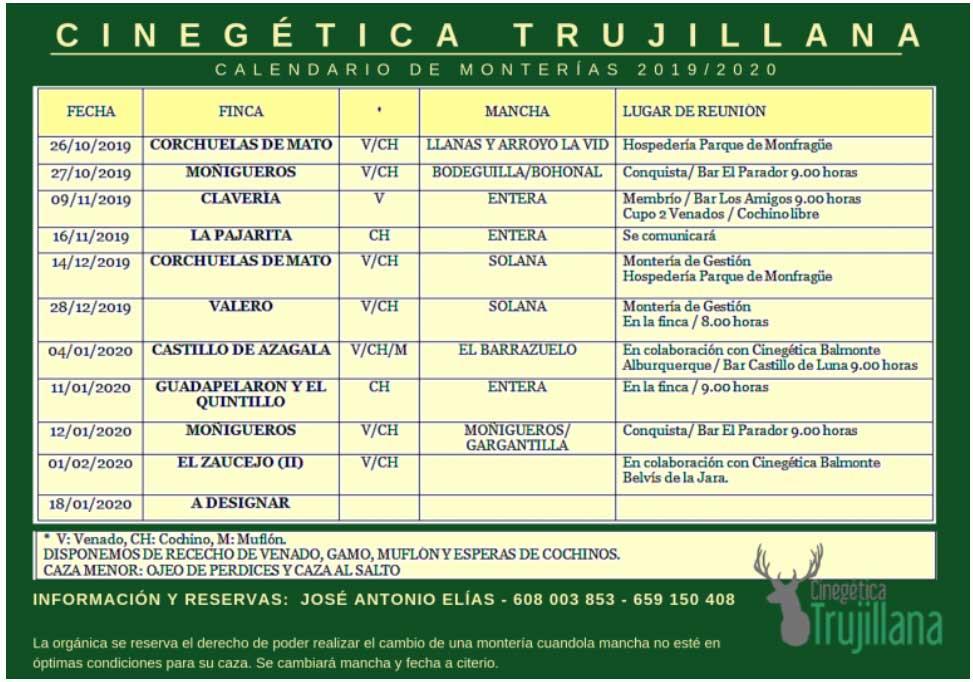 Programa Monterias Cinegetica Trujillana