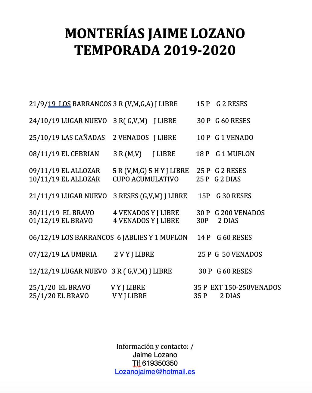 Programa Monterias Jaime Lozano