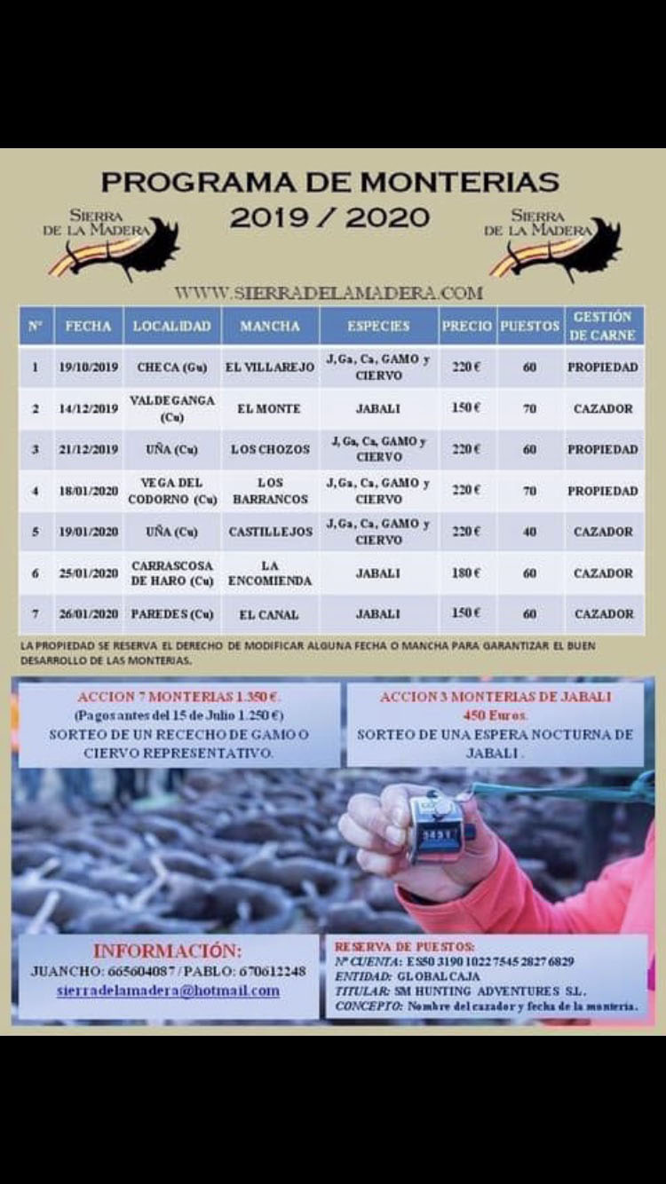 Programa Monterías Sierra de la Madera