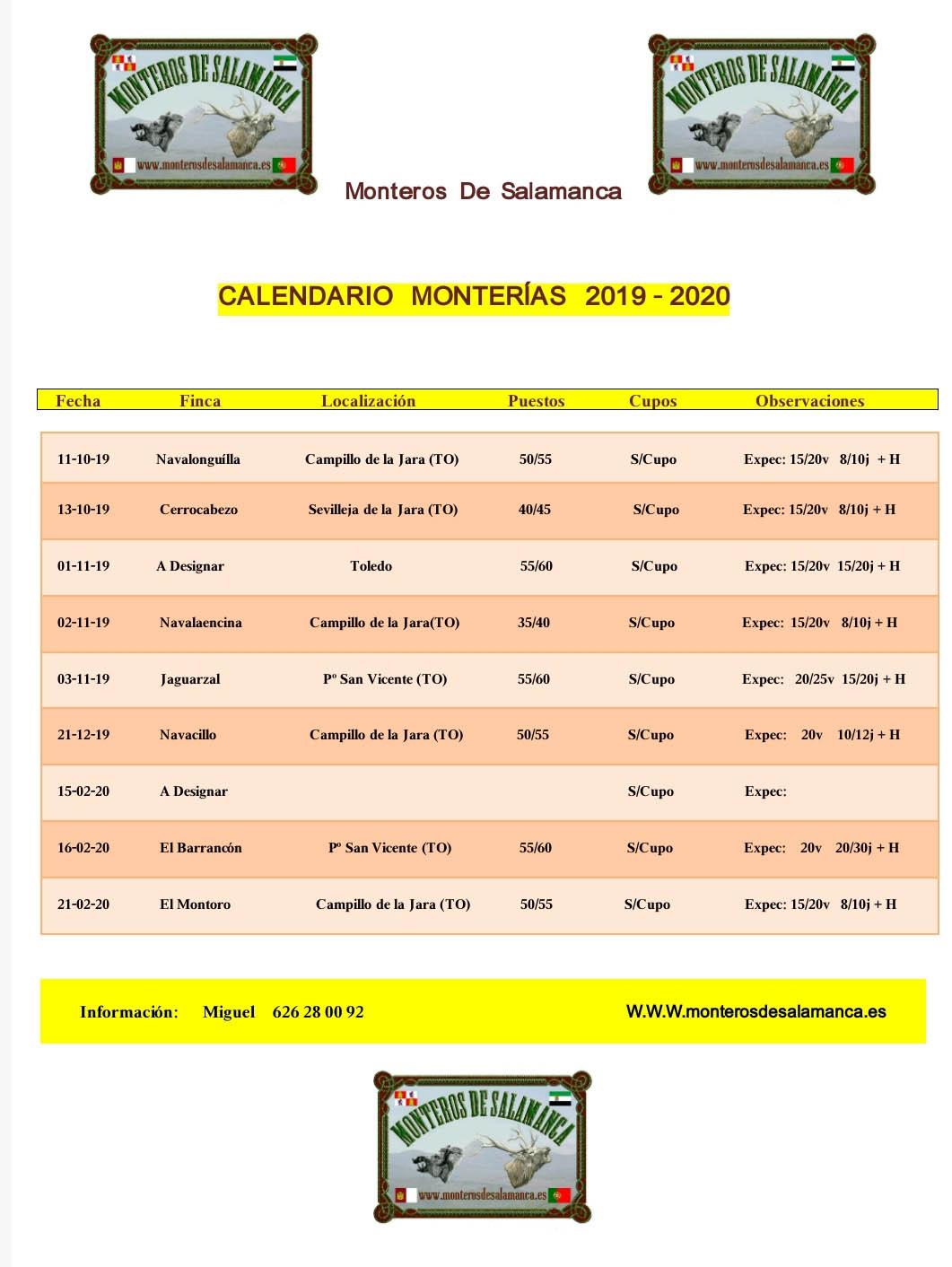 Programa Monterias Monteros de Salamanca