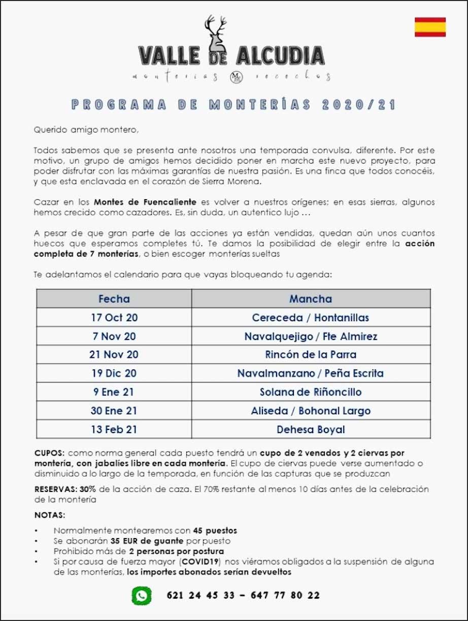 Programa Monterías Valle de Alcudia