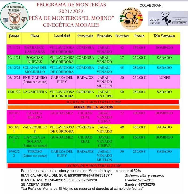 Programa Monterías Peña El Mojino