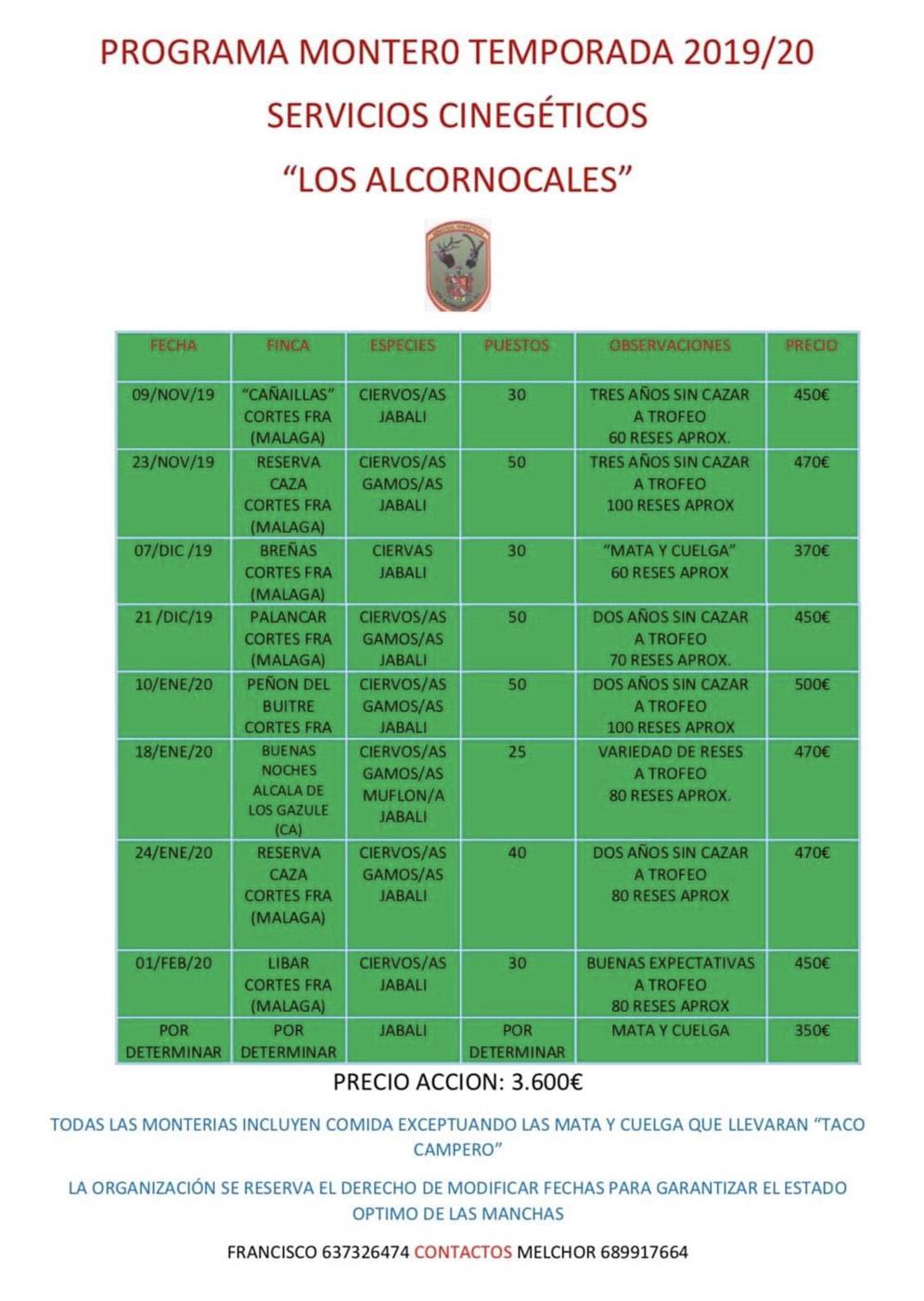 Programa Monterias Los Alcornocales S C