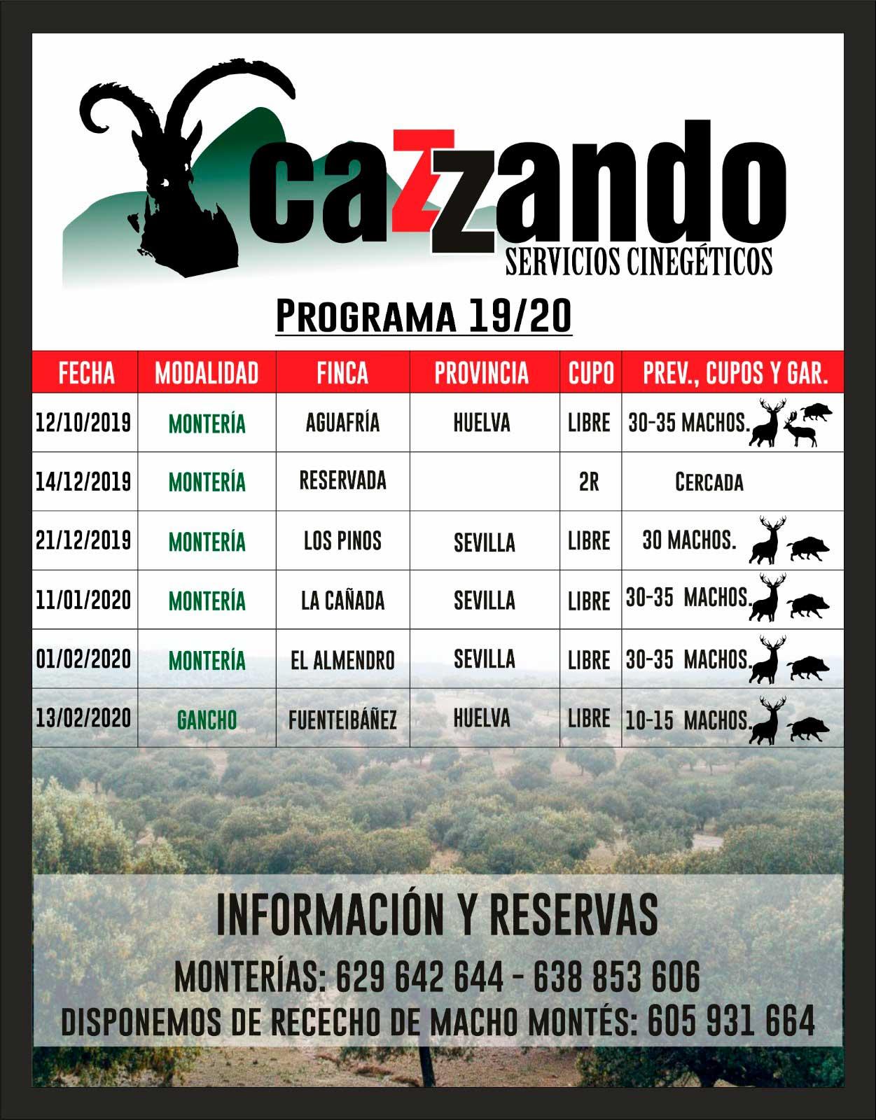 Programa Monterías Cazzando S C