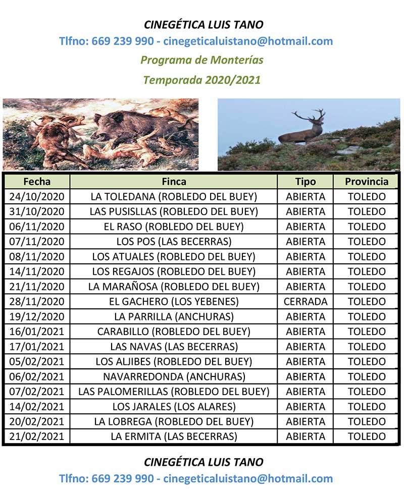 Programa Monterías Cinegética Luis Tano