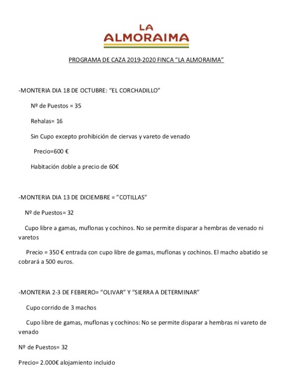 Programa Monterías Finca La Almoraima